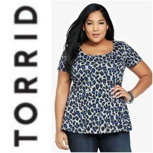 Torrid Blue/Grey Cheetah Print Peplum Top 3 3x